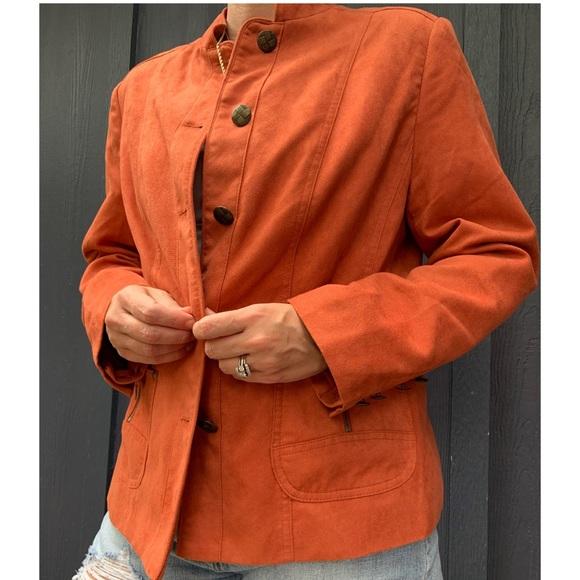 TanJay Faux Suede Orange Jacket | Size 10P